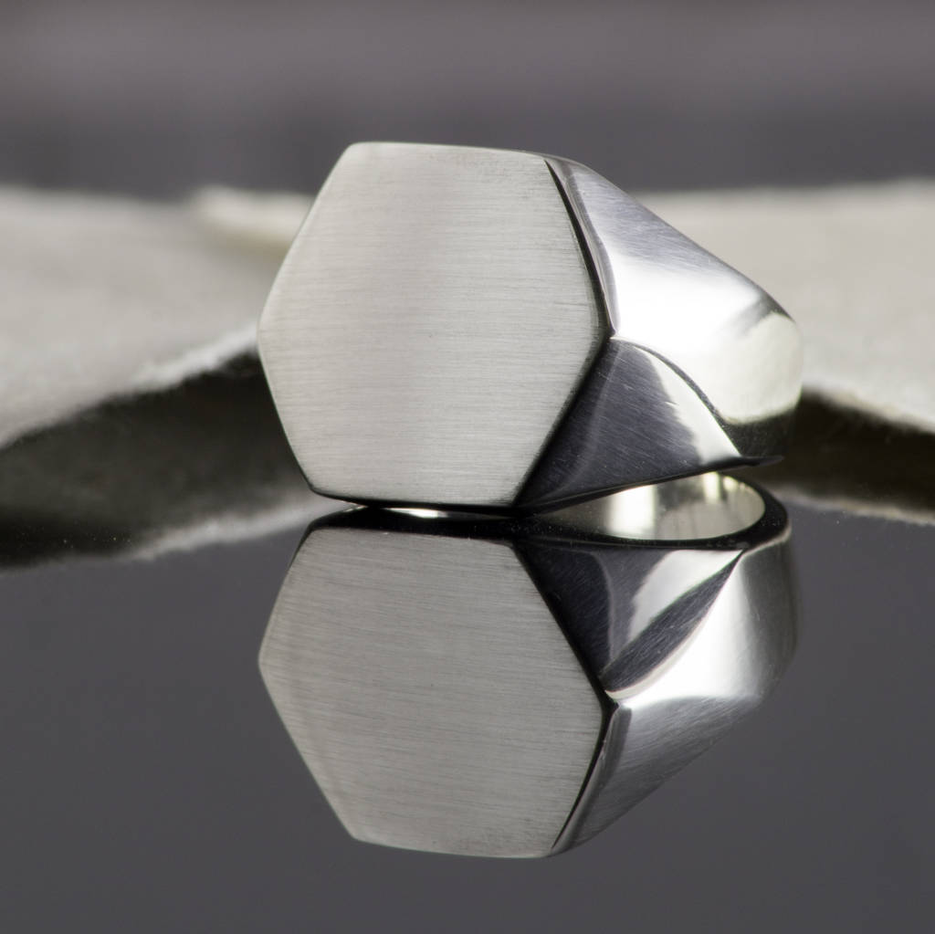 Geometric Solid Silver Hexagon Signet Ring