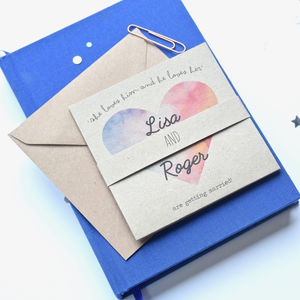 Watercolour Colour Heart Tri Folded Wedding Invitation