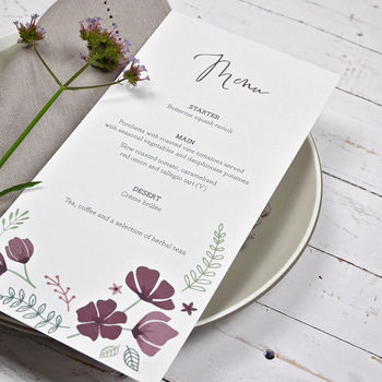 Personalised Marsala Floral Menu