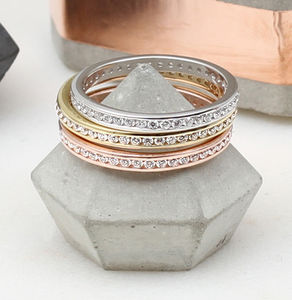 Precious Metal And Cubic Zirconia Stacking Rings - rings