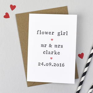 Personalised Flower Girl Card - wedding cards