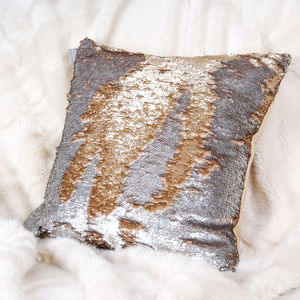 Aviva Stanoff Rose Gold And Silver Sequin Cushion - cushions