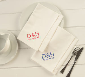 Personalised Family Dinner Table Napkin Set Pack Of Two - napkins