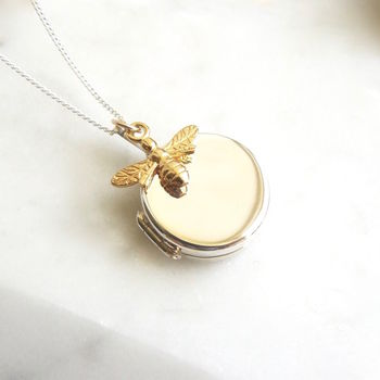 Silver Round Locket With Gold Bee Necklace