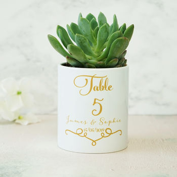 Personalised Classic Wedding Table Number Plant Pot