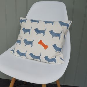 Hand Printed Basset Hound Cushion - what's new