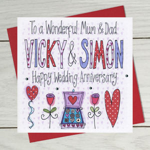 Personalised Mum And Dad Wedding Anniversary Card
