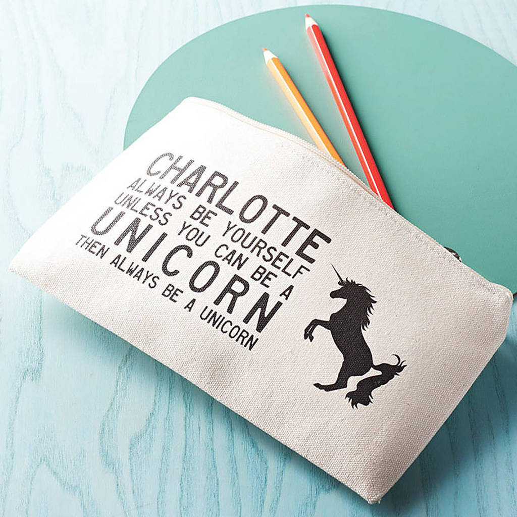personalised unicorn pencil case by claire close | notonthehighstreet.com