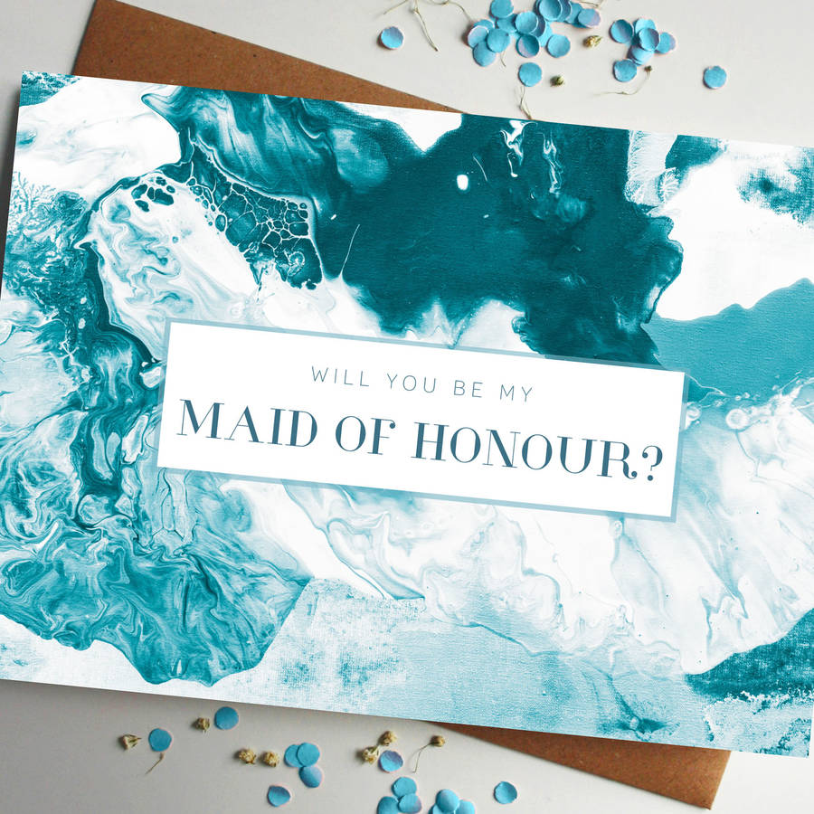 Will You Be My Maid Of Honour Marble Card