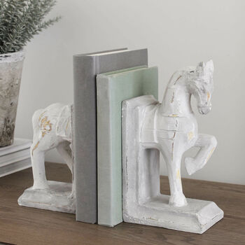 Chalk Grey Distressed Horse Bookends