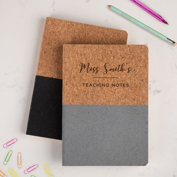 personalised notebook for teachers - lesson plan notebook for teachers - personalised presents for teachers - teaching notes eco friendly sustainable cork notebook for school teacher