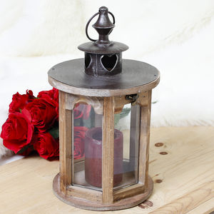 Round Wooden Heart Candle Lantern - lights & lanterns