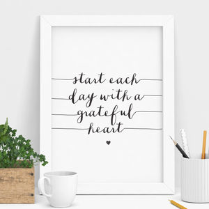 'Start Each Day' Inspirational Typography Print