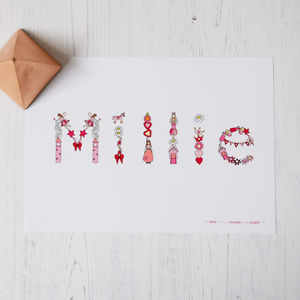 Personalised Child's Baby Name Print - typography