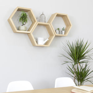 Hexagon Wall Shelves Set Of Three - office & study