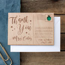 Personalised 'Thank You Teacher' Wooden Post Card