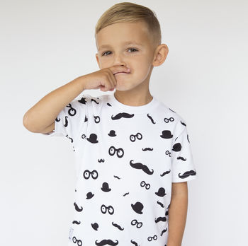 Moustache Pattern T Shirt