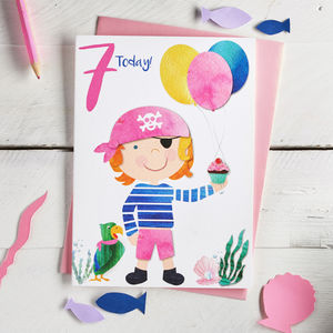 Age Seven Girl Pirate Birthday Card