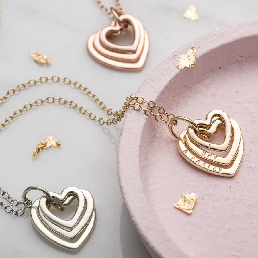 Personalised 9ct Gold Family Names Heart Necklace By Posh
