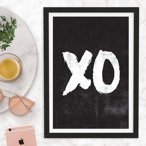 'Xo' Hugs And Kisses Wall Art Typography Print - winter sale