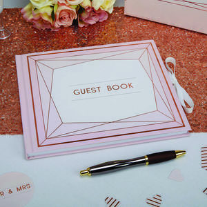 Wedding Guest Book With Rose Gold Foil