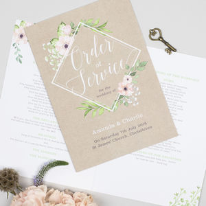 Botanical Geometric 'Eloise' Order Of Service Booklet