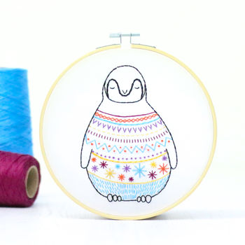 Baby Penguin Contemporary Embroidery Craft Kit