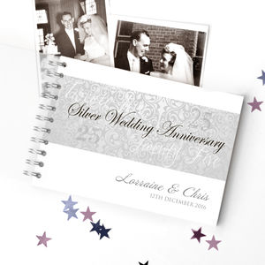 Personalised Silver Wedding Anniversary Guestbook - 25th anniversary: silver