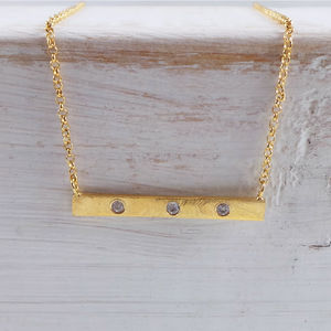 Gold Bar Necklace With White Sapphires - necklaces & pendants