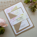 Pastel Painting Wedding Invitation with Belly Band