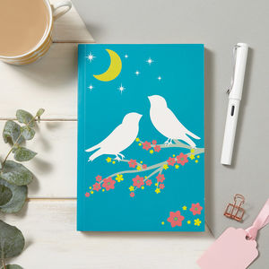 Birds And Moonlight Soft Cover Notebook