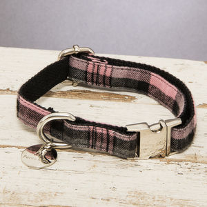 The Siddington Pink Checked Dog Collar - dog collars