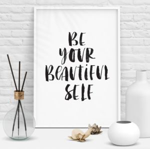 'Be Your Beautiful Self' Watercolour Typography Print