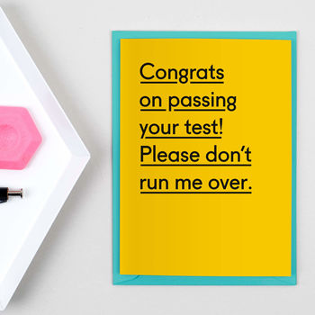 'Please Don't Run Me Over' Driving Test Card
