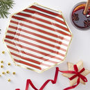 Gold Foiled Candy Cane Stripe Paper Plates Red And Gold