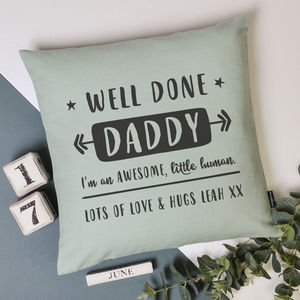 'Well Done Dad' Personalised Cushion Cover