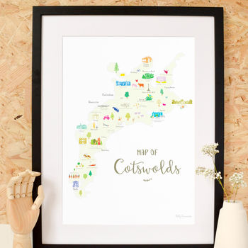 Map Of The Cotswolds Art Print