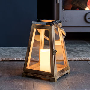 Trapeze Wooden LED Candle Lantern - lighting