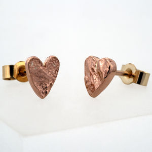 Rose Gold Heart Studs - earrings