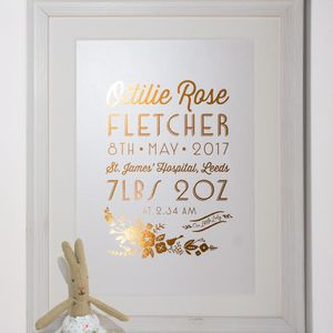 Personalised Gold Foil Birth Details Print