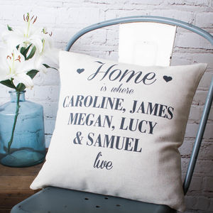 'Home Is Where We Live' Cushion Cover - decorative accessories