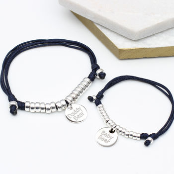 Personalised Sterling Silver Father And Son Bracelets
