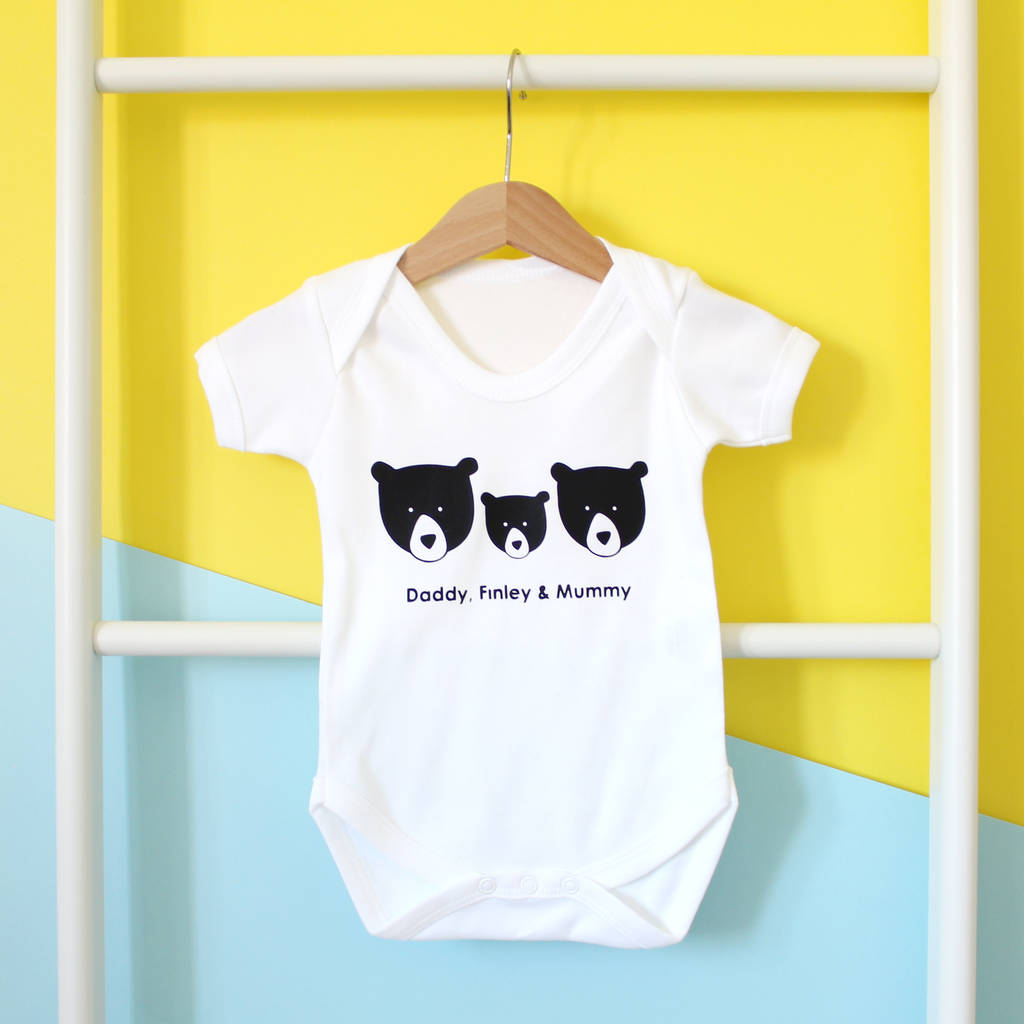 Bear Family, Personalised Baby Grow