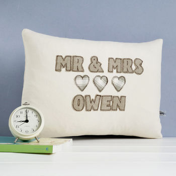 personalised mr and mrs cushion, stone hearts