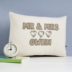 Personalised Mr And Mrs Cushion - 4th anniversary: linen