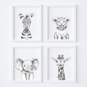 Monochrome Safari Animal Nursery Art Print Set