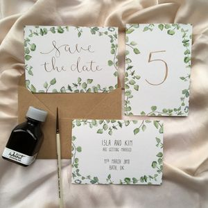 Eucalyptus Modern Calligraphy Save The Dates - save the date cards
