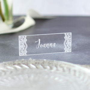 Personalised Lace Wedding Place Settings - winter wedding styling