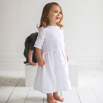 White Linen Girl's Dress