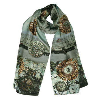 Silk Scarf In Green And Gold Sequin Print